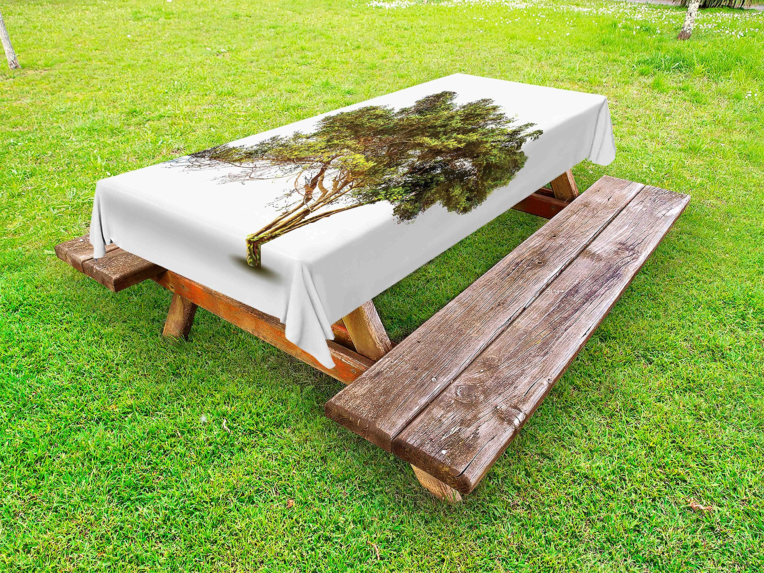 Lunarable Tree Outdoor Tablecloth, Ancient Tree with Wide Branches Growth Forest Jungle Woods Garden Framework Print, Decorative Washable Picnic Table Cloth, 58 X 104 inches, Green Brown