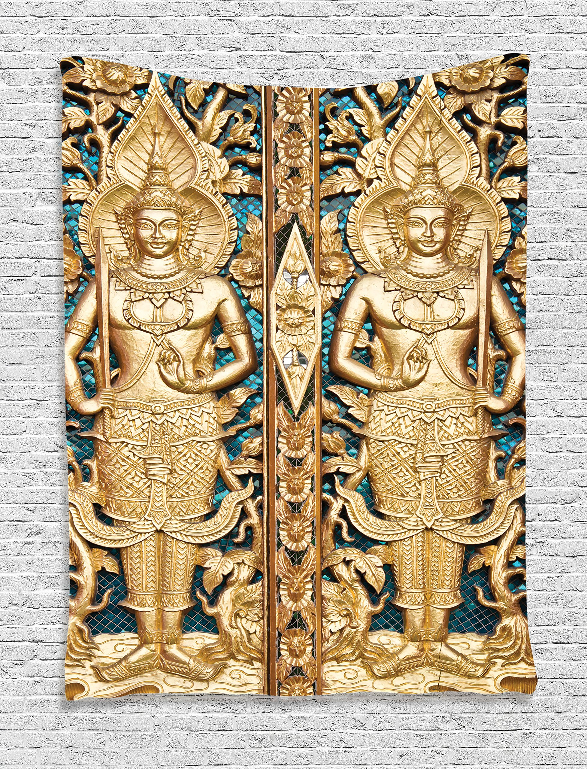 Ambesonne Rustic Decor Collection, Thai Gate at Wat Sirisa Tong Thailand Buddhism Architecture History Spiritual Picture, Bedroom Living Room Dorm Wall Hanging Tapestry, Golden Teal by Ambesonne
