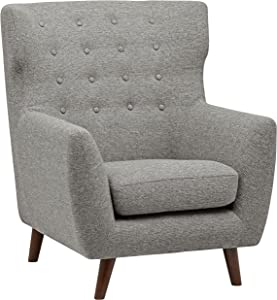 """Rivet Hawthorne Mid-Century Tufted Modern Accent Chair, 35""""W, Silver"""