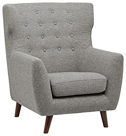 Rivet Hawthorne Mid Century Tufted Modern Accent Chair, Silver