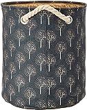 Miamour Tree Design Fabric Laundry Hamper, Grey