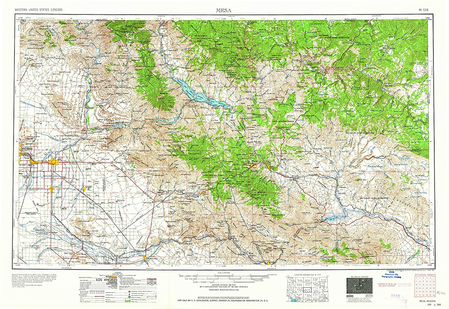 Amazon.com : YellowMaps Mesa AZ topo map, 1:250000 Scale, 1 ...