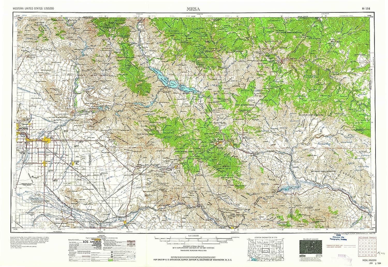 Topographic Map Arizona.Amazon Com Yellowmaps Mesa Az Topo Map 1 250000 Scale 1 X 2