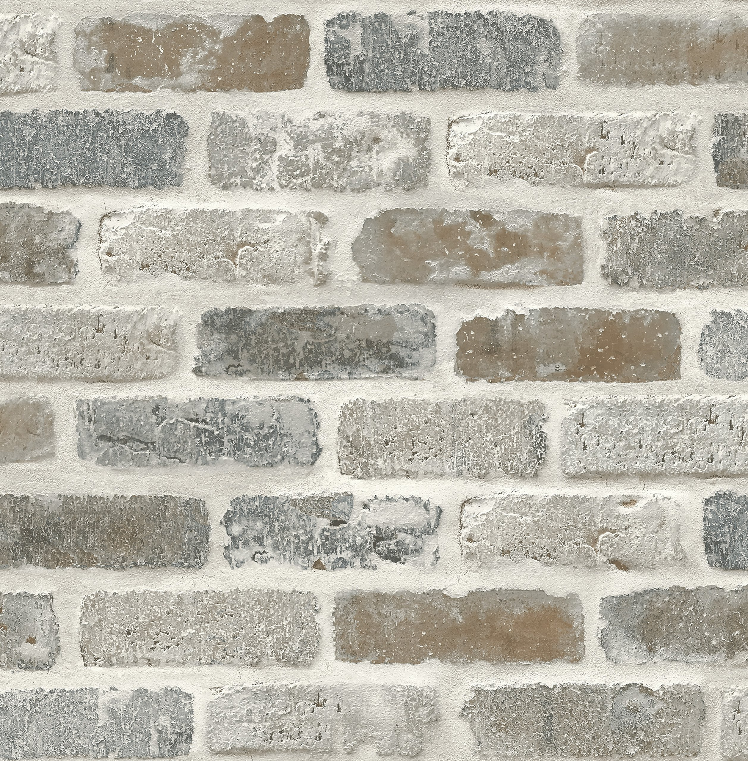 NextWall Washed Faux Brick Peel and Stick Wallpaper. by NextWall