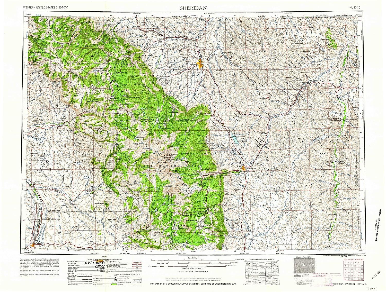 Sheridan Colorado Map.Amazon Com Yellowmaps Sheridan Wy Topo Map 1 250000 Scale 1 X 2