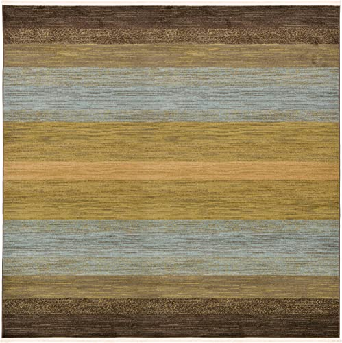 Unique Loom Fars Collection Tribal Modern Casual Multi Square Rug 8 0 x 8 0