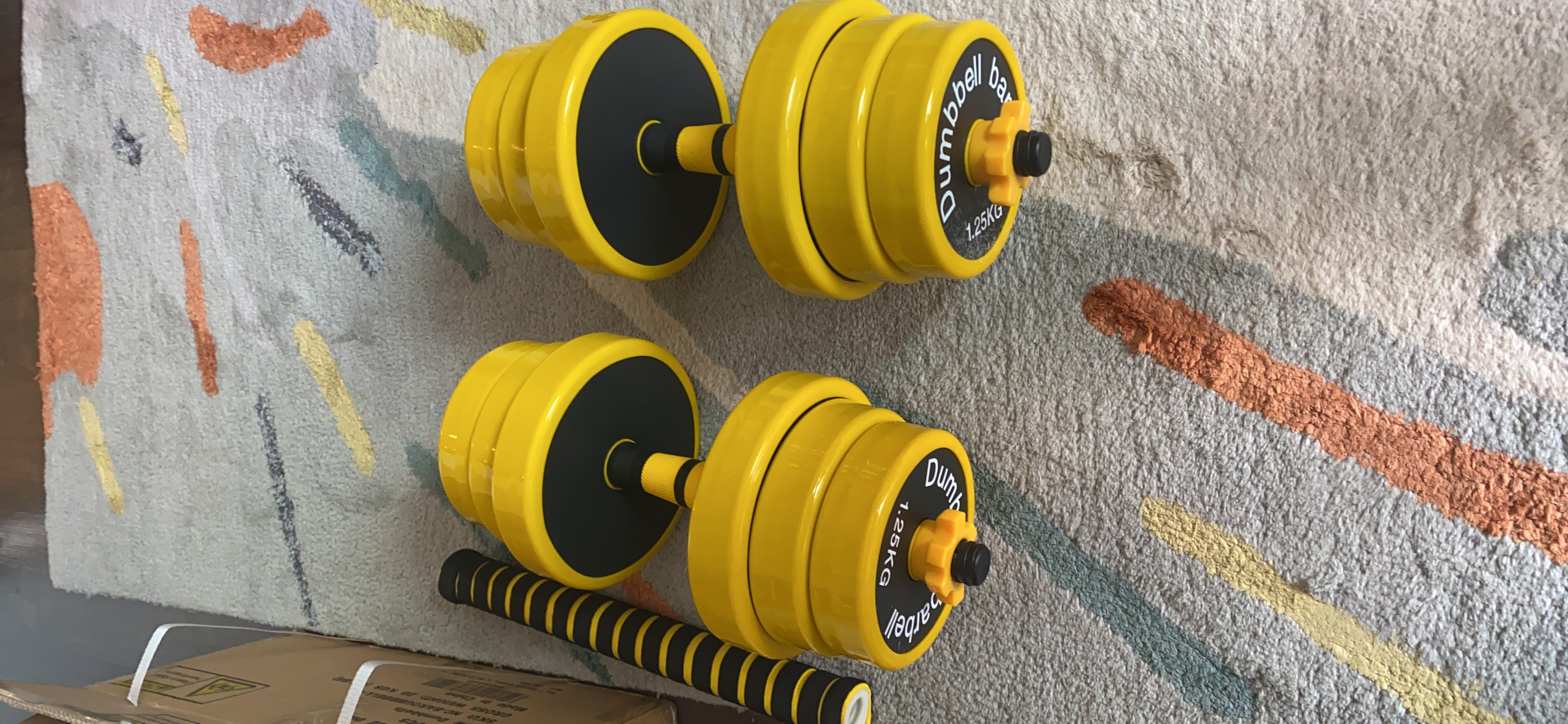 Nice C Adjustable Dumbbell Barbell Weight Pair, Free Weights 2-in-1 Set, Non-Slip Neoprene Hand, All-Purpose, Home, Gym, Office photo review