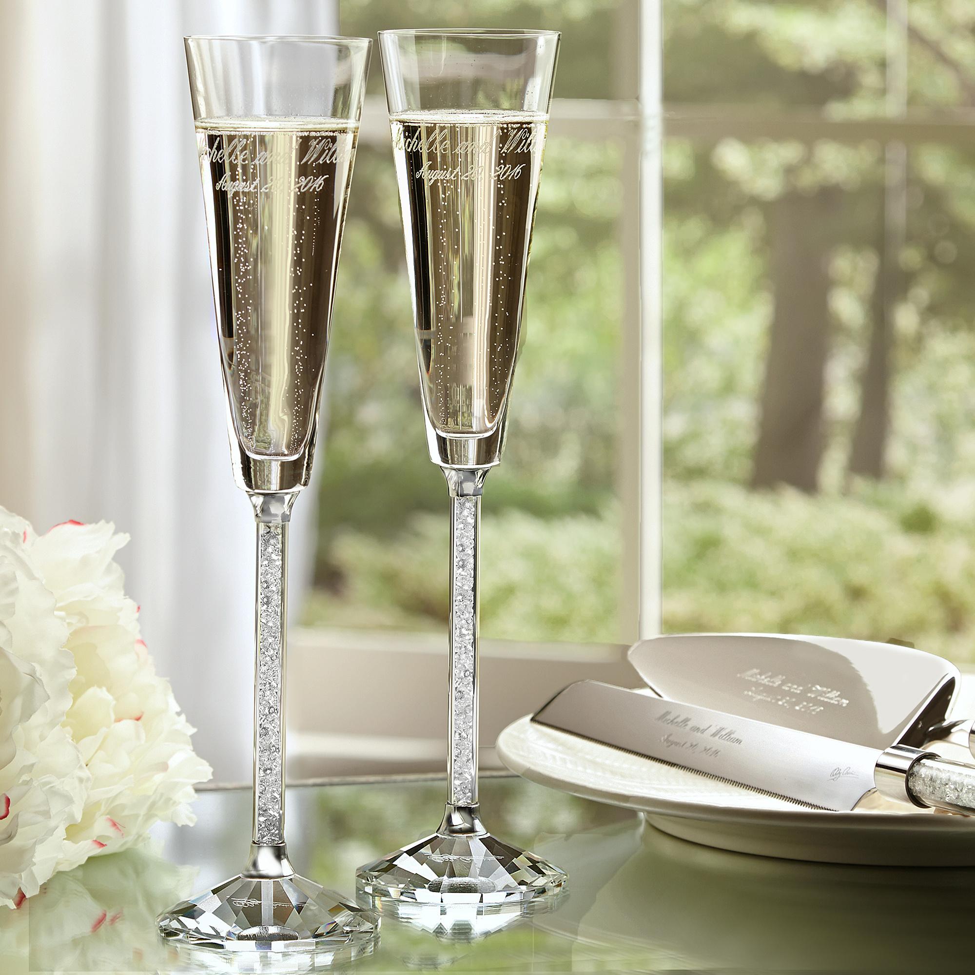 Exclusively Weddings | Oleg Cassini Crystal Diamond Toasting Flutes