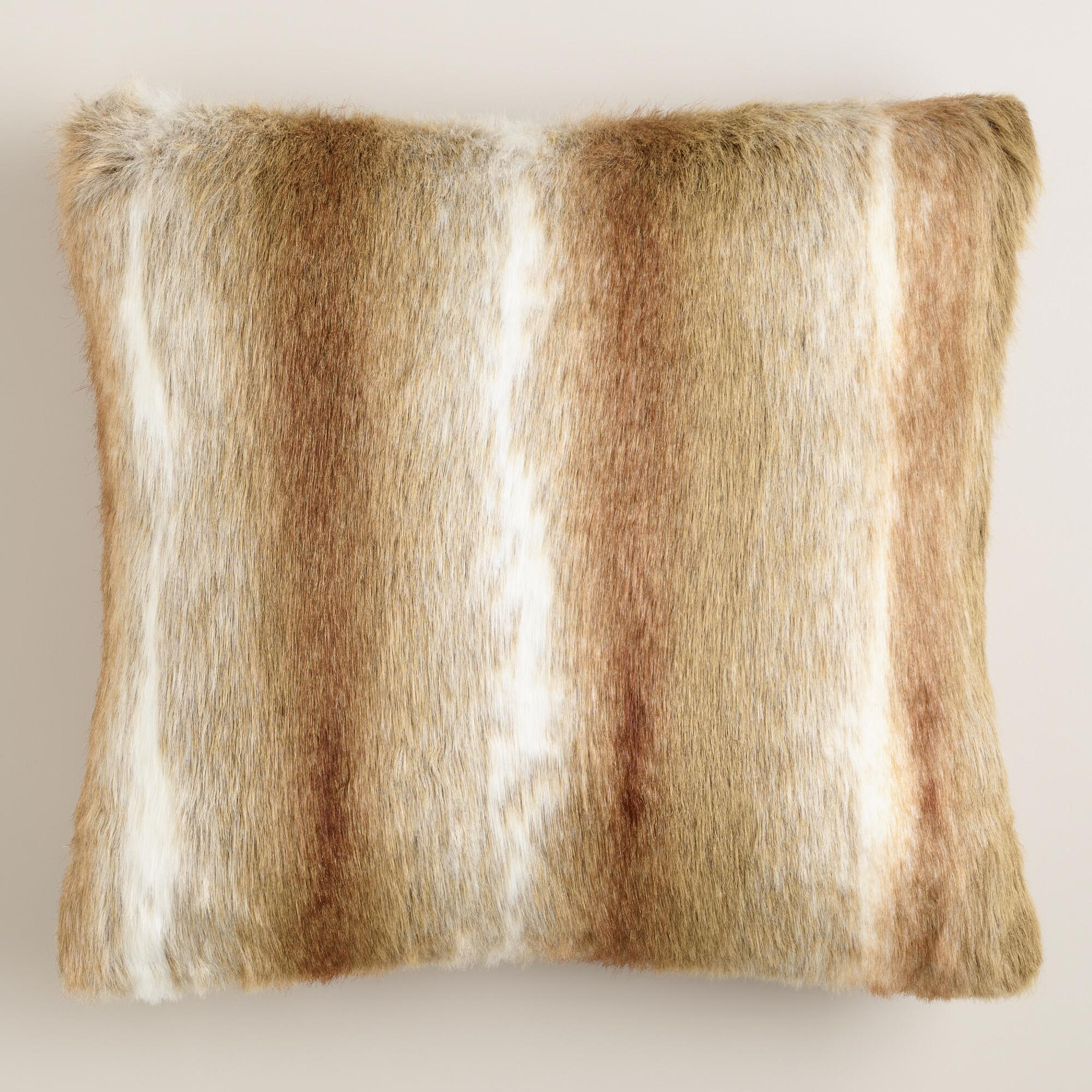 Brown Faux Fur Throw Pillow | World Market