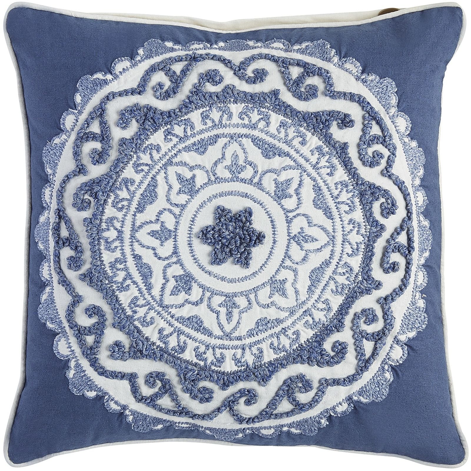 Embellished Suzani Medallion Pillow - Blue   Pier 1 Imports
