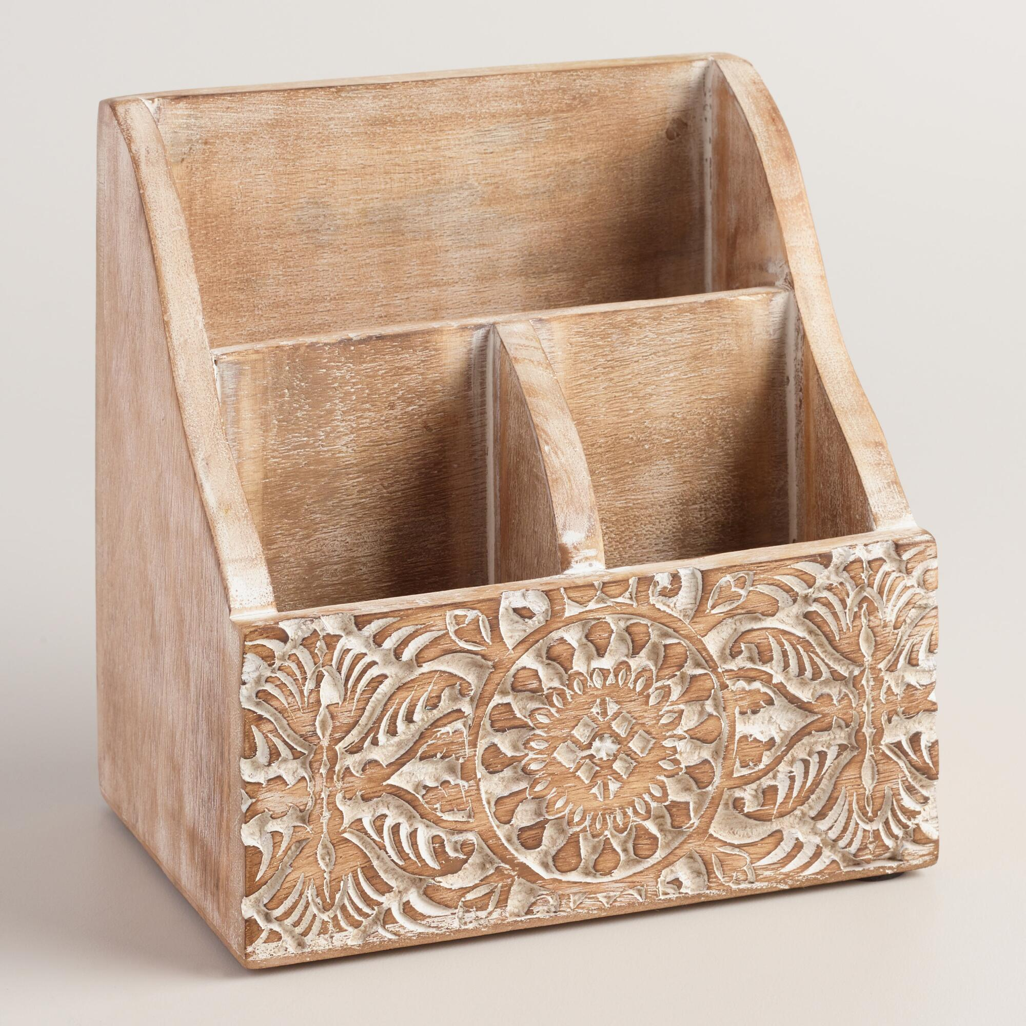 Mini Hand-Carved Wood Gianna Desk Organizer | World Market