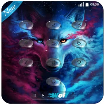 Amazoncom Fire Wolf Keypad Lock Screen Wallpaper 4k