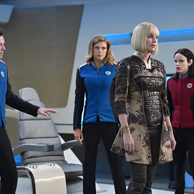 Charlize Theron, Seth MacFarlane, Adrianne Palicki, and Halston Sage in The Orville (2017)