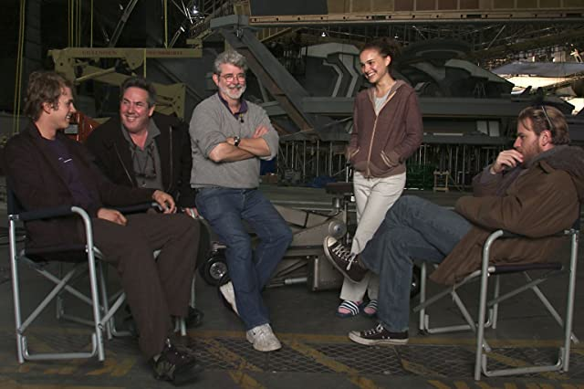 George Lucas, Ewan McGregor, Natalie Portman, Hayden Christensen, and Rick McCallum in Star Wars: Episode III - Revenge of the Sith (2005)