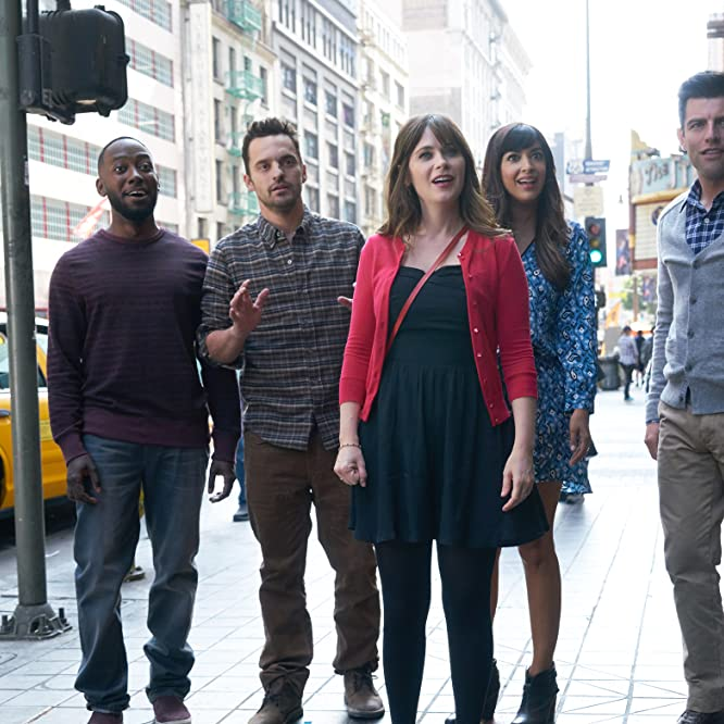 Zooey Deschanel, Max Greenfield, Hannah Simone, Lamorne Morris, and Jake Johnson in New Girl (2011)