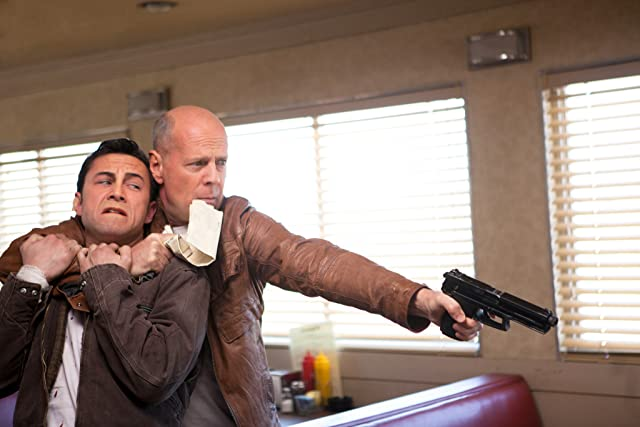 Bruce Willis and Joseph Gordon-Levitt in Looper (2012)