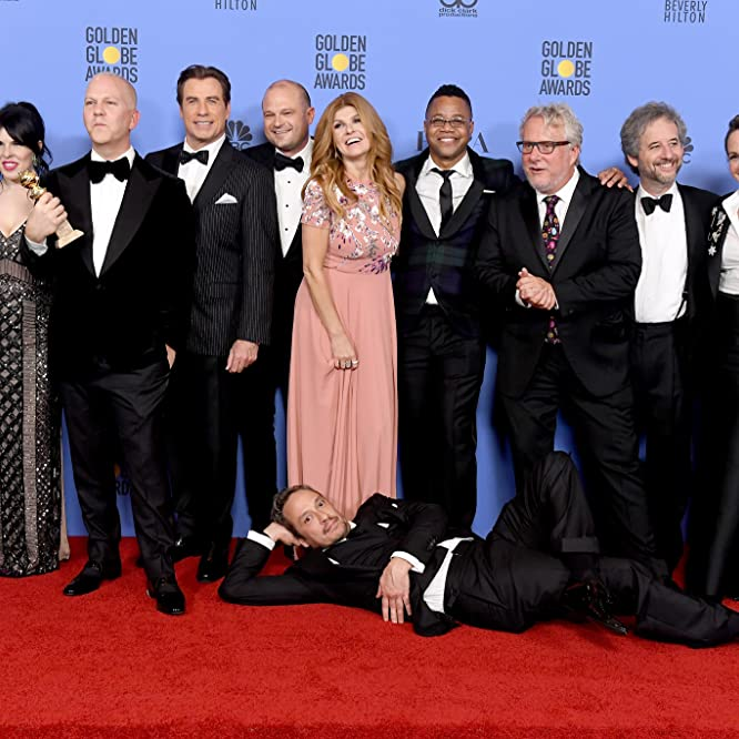 John Travolta, Cuba Gooding Jr., Courtney B. Vance, Scott Alexander, Connie Britton, Christian Clemenson, Larry Karaszewski, Ryan Murphy, and Nina Jacobson at an event for The 74th Golden Globe Awards (2017)