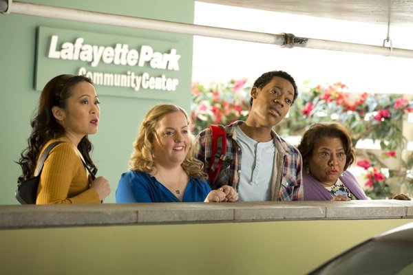 Suzy Nakamura, Tonita Castro, Sarah Baker, and Tyler James Williams in Go On (2012)