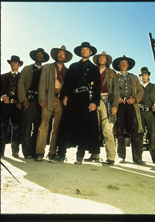 Michael Biehn, Ron Perlman, Dale Midkiff, Eric Close, Andrew Kavovit, Anthony Starke, and Rick Worthy in The Magnificent Seven (1998)