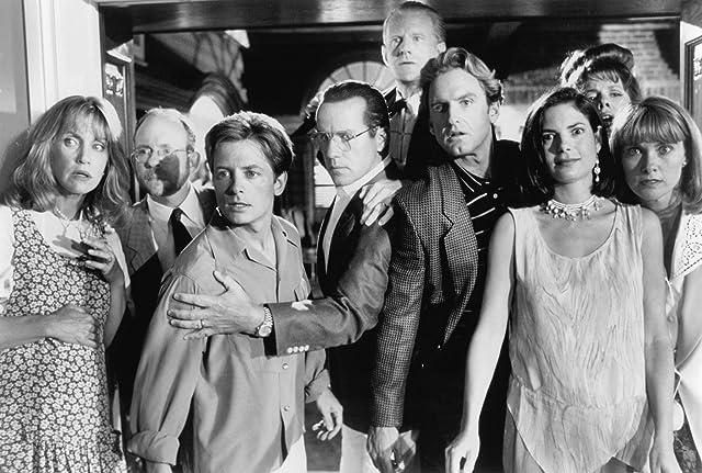 Michael J. Fox, Bob Balaban, Ed Begley Jr., Jere Burns, Colleen Camp, Siobhan Fallon Hogan, Phil Hartman, Joyce Hyser, and Mary Ellen Trainor in Greedy (1994)
