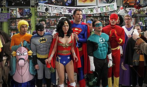 Kaley Cuoco, Johnny Galecki, Simon Helberg, Jim Parsons, Brian Thomas Smith, and Kunal Nayyar in The Big Bang Theory (2007)