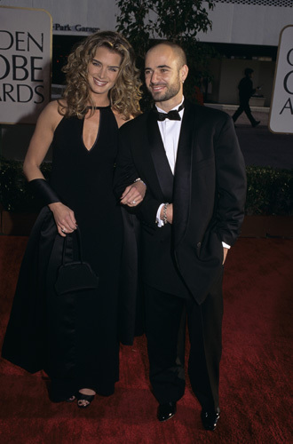 Brooke Shields and Andre Agassi at