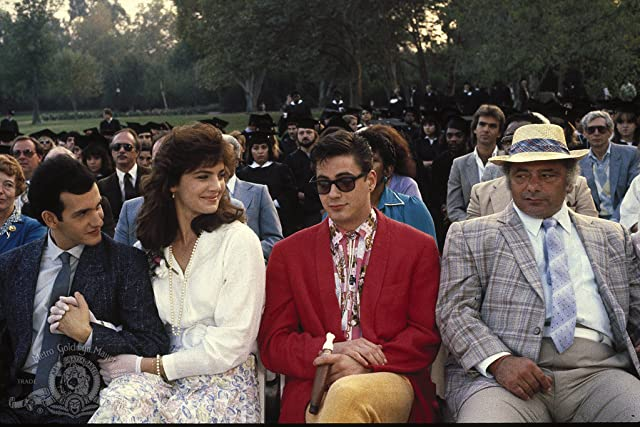 Robert Downey Jr., Terry Farrell, Keith Gordon, and Burt Young in Back to School (1986)
