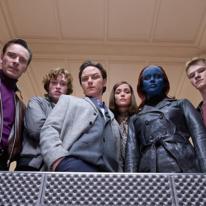 Rose Byrne, James McAvoy, Michael Fassbender, Lucas Till, Jennifer Lawrence, and Caleb Landry Jones in X: First Class (2011)