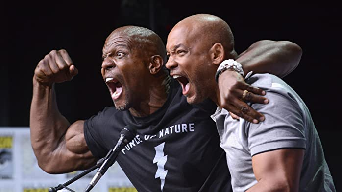 Will Smith and Terry Crews at an event for Bright (2017)