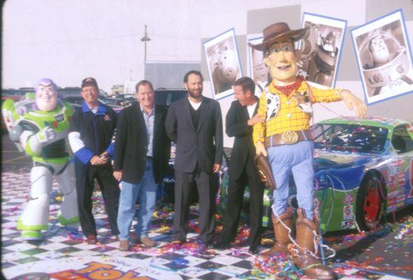 Tom Hanks, Tim Allen, and John Lasseter at Toy Story 2 (1999)