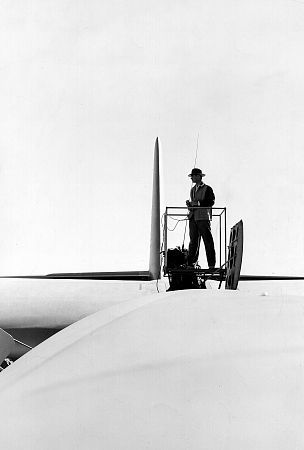 Howard Hughes atop The Spruce Goose, 1947.