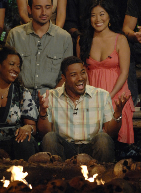 Stacy Kimball, Cassandra Franklin, Earl Cole, and Alex Angarita in Survivor: You've Got a Puzzled Look (2007)
