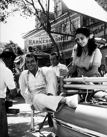Elizabeth Taylor and Montgomery Clift on the set of