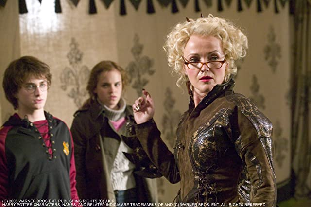 Miranda Richardson, Daniel Radcliffe, and Emma Watson in Harry Potter and the Goblet of Fire (2005)