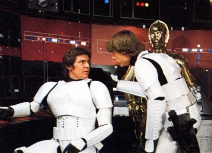 Harrison Ford, Anthony Daniels, and Mark Hamill in Star Wars (1977)