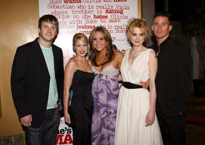 Amanda Bynes, Alexandra Breckenridge, Laura Ramsey, Robert Hoffman, and Channing Tatum at She's the Man (2006)