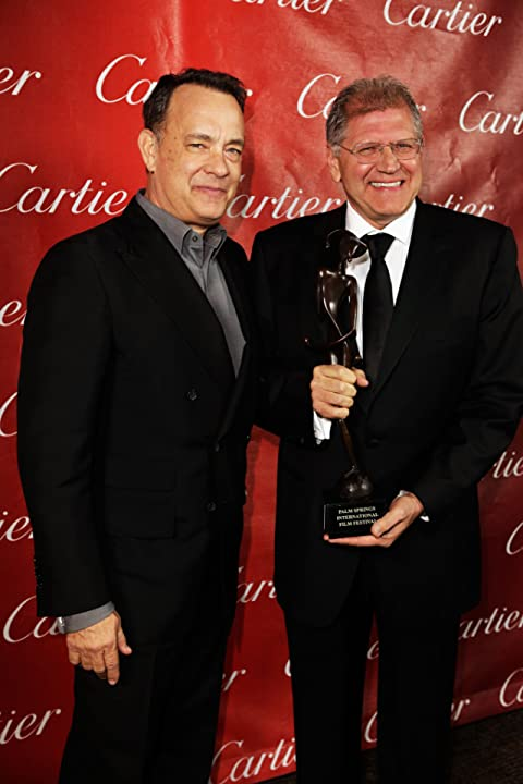Tom Hanks and director Robert Zemeckis pose with the Director of the Year Award at the 24th annual Palm Springs International Film Festival Awards Gala.