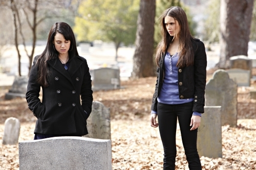 Mia Kirshner and Nina Dobrev in The Vampire Diaries (2009)