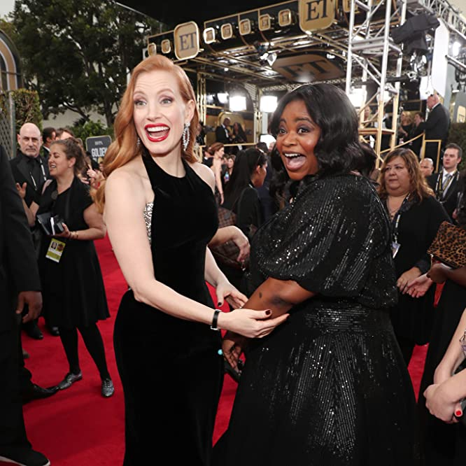 Octavia Spencer and Jessica Chastain at an event for The 75th Golden Globe Awards (2018)