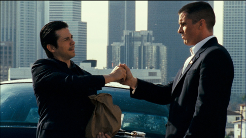 Christian Bale and Freddy Rodríguez in Harsh Times (2005)