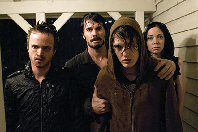Spencer Treat Clark, Garret Dillahunt, Aaron Paul, and Riki Lindhome in The Last House on the Left (2009)