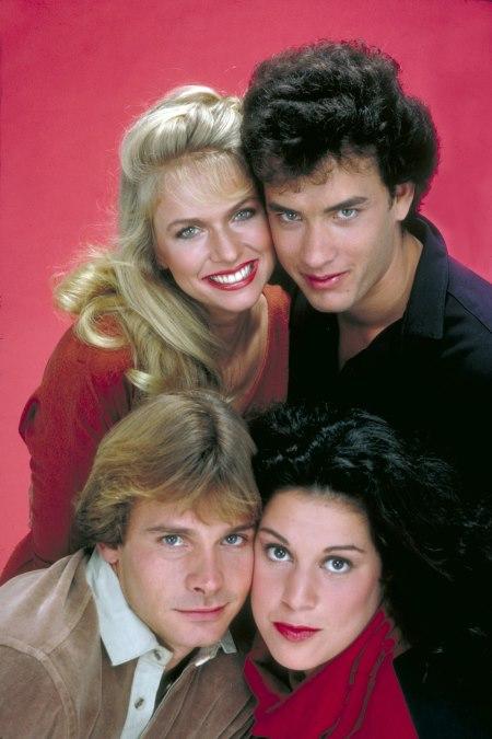 Tom Hanks, Donna Dixon, Peter Scolari, and Wendie Jo Sperber in Bosom Buddies (1980)