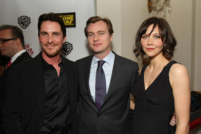 Christian Bale, Maggie Gyllenhaal, and Christopher Nolan