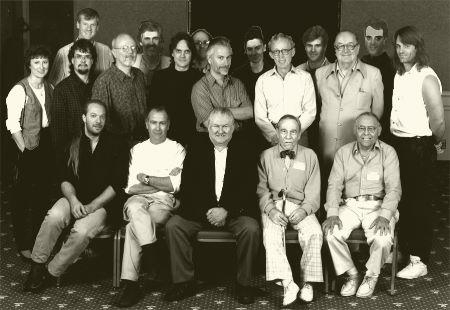 Stanley Newton's photo of the September 12, 1996 Dick Smith Tribute (all rows from left): Front - Greg Nicotero of KNB EFX Group, Robert Short, Bob Burns, Harry Thomas (d. 1996), Abe Haberman (d. 1998). Middle - Estelle Shay of CINEFEX, Kevin Haney, Don Post, Jr., Bill Malone, Rick Baker, Dick Smith, Forrest J. Ackerman, Todd Tucker. Back - Don Shay of CINEFEX, Craig Reardon, Stuart Ziff, Kate Studley, Alec Gillis of ADI, Tom Woodruff of ADI