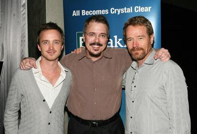 Bryan Cranston, Vince Gilligan, and Aaron Paul at Breaking Bad (2008)