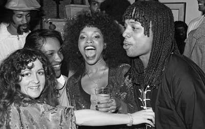 Teena Marie, Tina Andrews and Rick James at a party