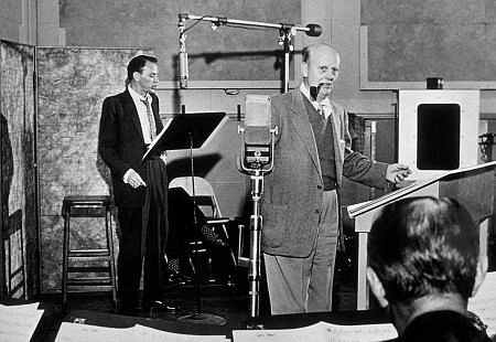 Frank Sinatra and Axel Stordahl in a recording session c.1953