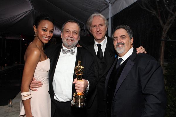 James Cameron, Jon Landau, Joe Letteri, and Zoe Saldana at The 82nd Annual Academy Awards (2010)