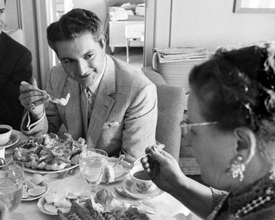 Lee Liberace and his mother in a hotel room in San Francisco