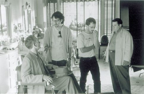 Billy Bob Thornton, Ethan Coen, Joel Coen, and Michael Badalucco in The Man Who Wasn't There (2001)